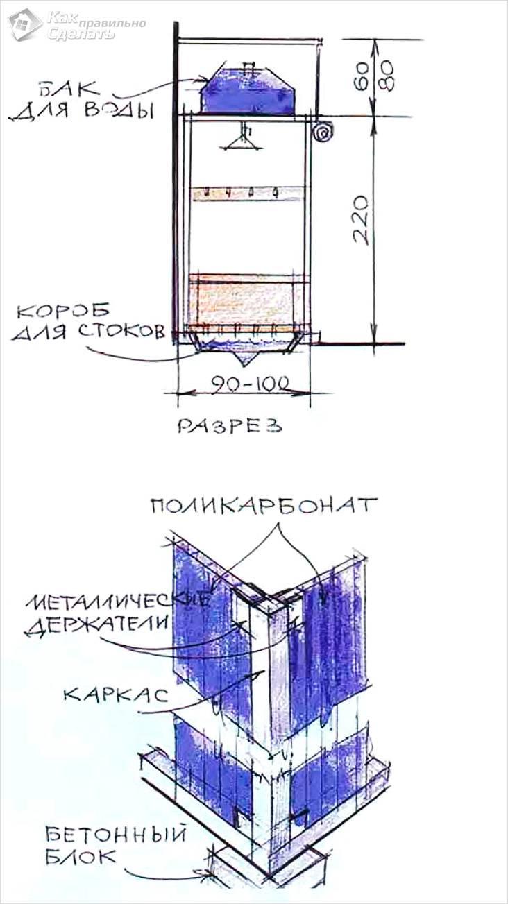 Как сделать летний душ из подручных материалов