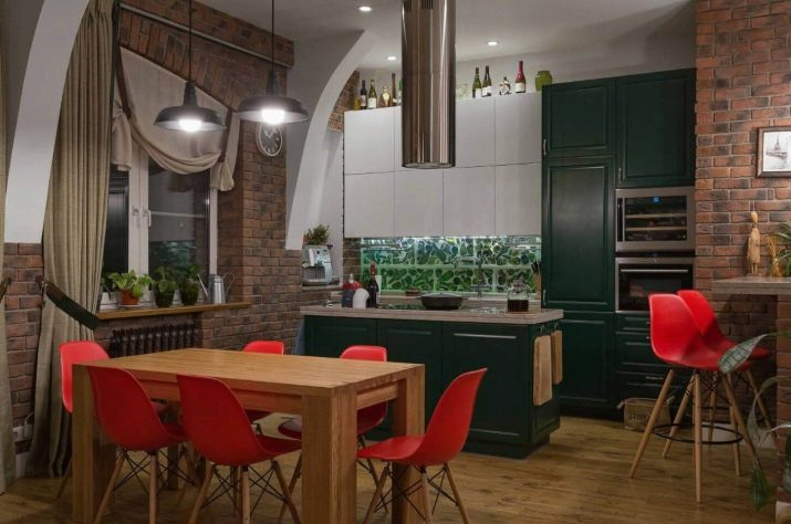 Кухня в стилі лофт (99 фото): кутовий кухонний гарнітур в дизайні інтер'єру, біла і сіра кухні, модульні кухні в квартирі, відповідні штори і люстра