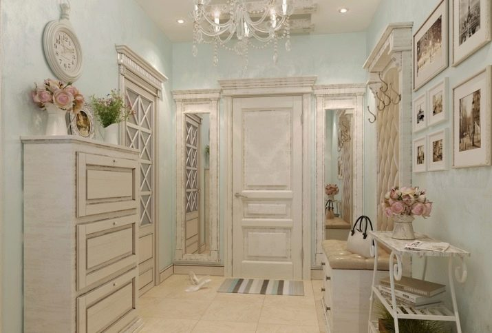 Вітальня в стилі прованс (74 фото): інтер'єр коридору в білих і інших тонах, дизайн шаф-купе та інших меблів у стилі прованс